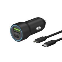 Автомобильное зарядное устройство с LED-индикатором Deppa мощностью 20 Вт и дата-кабель MFi с ремешком USB-C/Lightning (USB-C PD 3.0, USB-A QC 3.0; 1,2 м)