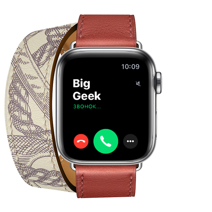 Apple Watch Series 5 GPS + Cellular, 40mm, корпус из стали, ремешок Hermès Double Tour из кожи Swift цвета Brique/Béton