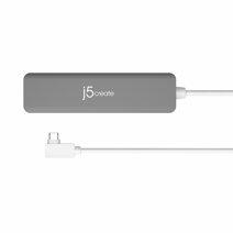 Многопортовый адаптер j5create JCD372 с L-образным кабель-коннектором USB-C (2 USB-A 3.1, microSD UHS-I, SD UHS-I, HDMI 4K 30 Гц)