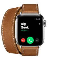 Apple Watch Series 5 GPS + Cellular, 40mm, корпус из стали, ремешок Hermès Double Tour из кожи Barénia цвета Fauve