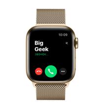 Apple Watch Series 6 GPS + Cellular, 40mm, корпус из стали золотого цвета, золотой миланский сетчатый браслет