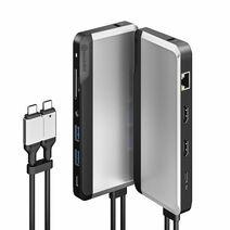 Многопортовый адаптер ALOGIC Super Dock с двойным кабель-коннектором USB-C (USB-C PD 100 Вт, USB-C, 2 USB-A 3.0, microSD, SD, 2 HDMI 4K 60 Гц, Gigabit Ethernet, разъём 3,5 мм; кенсингтонский замок)