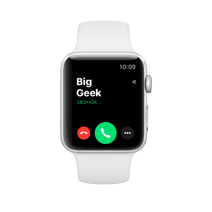 Apple Watch Series 3 GPS, 38mm, корпус из серебристого алюминия, спортивный ремешок белого цвета