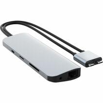 Многопортовый адаптер HYPER HyperDrive VIPER с двойным кабель-коннектором USB-C (USB-C PD 60 Вт, 3 USB-A 3.0, microSD UHS-I, SD-UHS-I, 2 HDMI 4K 60 Гц, Gigabit Ethernet, разъём 3,5 мм)