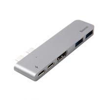 Многопортовый адаптер Baseus N28A5 с двойным коннектором USB-C (Thunderbolt 3, USB-C, 2 USB-A 3.0, HDMI 4K 30 Гц)
