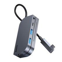 Многопортовый адаптер Baseus Bend Angle No.7 для iPad Pro (USB-C PD 100 Вт, 2 USB-A 3.0, SD, microSD, HDMI 4K 30 Гц, разъём 3,5 мм)