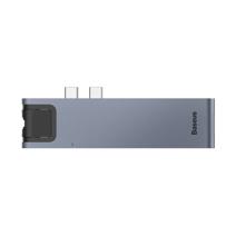Многопортовый адаптер Baseus Thunderbolt C+ Pro с двойным коннектором USB-C (USB-C PD 87 Вт, 2 USB-A 3.0, SD, microSD, HDMI 4K 30 Гц, Gigabit Ethernet)