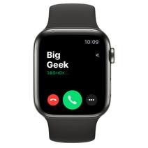 Apple Watch Series 6 GPS + Cellular, 44mm, корпус из стали цвета «графит», чёрный спортивный ремешок