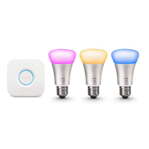 Комплект из 3 умных цветных лампочек и роутера Philips Hue White and Color Ambiance A19 60W Equivalent LED Smart Bulb Starter Kit 3-Gen A19