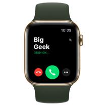 Apple Watch Series 6 GPS + Cellular, 44mm, корпус из стали золотого цвета, спортивный ремешок цвета «кипрский зелёный»