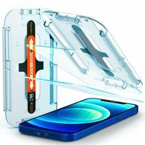 Защитное стекло с установочной формой Spigen GLAS.tR SLIM EZ FIT для iPhone 12 и 12 Pro (2D, 9H; олеофобное покрытие; комплект — 2 шт.)