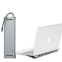 Многопортовый адаптер-подставка Baseus Enjoyment Series с кабель-коннектором USB-C (USB-C PD 60 Вт, 3 USB-A 3.0, SD, microSD, HDMI 4K 60 Гц, Gigabit Ethernet, разъём 3,5 мм, VGA)