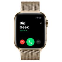 Apple Watch Series 6 GPS + Cellular, 44mm, корпус из стали золотого цвета, золотой миланский сетчатый браслет