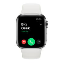 Apple Watch Series 6 GPS + Cellular, 40mm, корпус из стали, белый спортивный ремешок