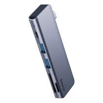 Многопортовый адаптер Baseus Harmonica с одинарным коннектором USB-C (USB-C PD 60 Вт, 2 USB-A 3.0, SD, microSD)