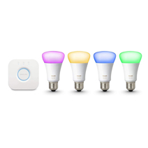 Комплект из 4 умных цветных лампочек и роутера Philips Hue White and Color Ambiance A19 60W Equivalent LED Smart Bulb Starter Kit 3-Gen A19